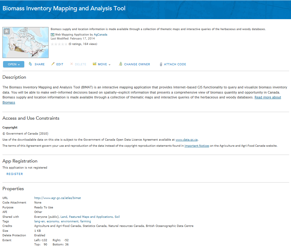 Biomass Inventory Mapping and Analysis Tool homepage screenshot