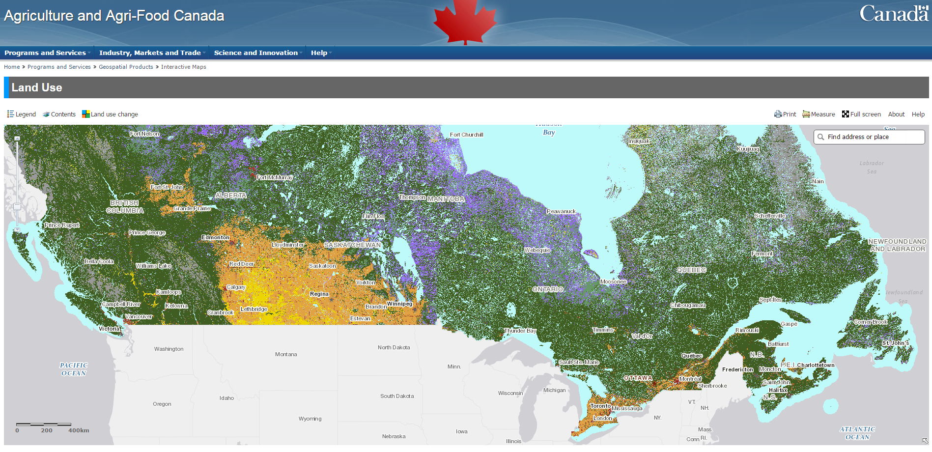 Map Of Canada Government Of Canada.Land Use 1990 2000 2010 Open Government